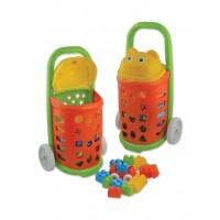 Детска пазарска количка, интерактивна - 55 см. + конструктор 54 части