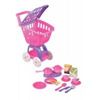 Детска пластмасова количка + комплект за готвене