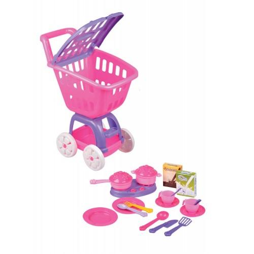 Детска пластмасова количка + комплект за готвене - Канцеларски материали за офиса и училището | Акварел