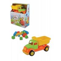 Детско пластмасово камионче в комплект с конструктор - 30 см.
