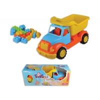 Детско пластмасово камионче в комплект с конструктор - 43 см.