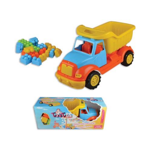Детско пластмасово камионче в комплект с конструктор - 43 см. - Канцеларски материали за офиса и училището | Акварел