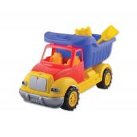 Пластмасов камион с аксесоари - сито и лопатка - 30 см.