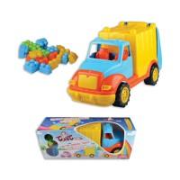 Пластмасов камион за смет в комплект с конструктор - 48 см.