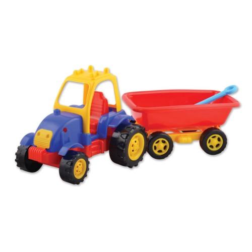 Пластмасов трактор с ремарке и лопатка, играчка - 50 см. - Канцеларски материали за офиса и училището | Акварел