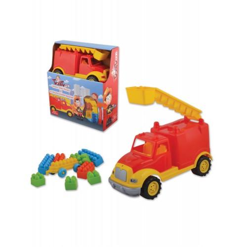 Пожарна пластмасова кола в комплект с конструктор - 30 см.