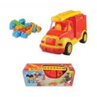 Пожарна пластмасова кола в комплект с конструктор - 43 см.