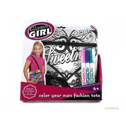Чанта за момиче с маркери за оцветяване
