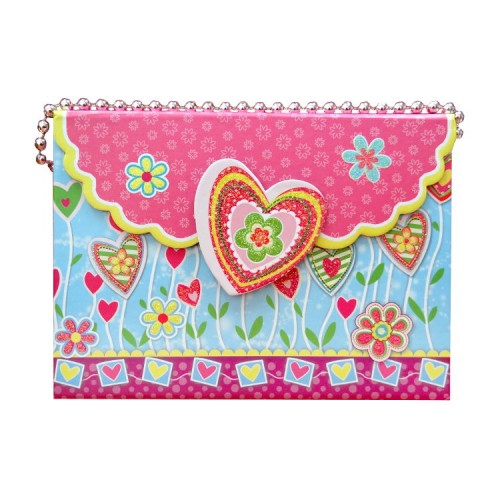Таен дневник с ключ - Сърце, с кутия и магнитна закопчалка и дръжка с перли - Канцеларски материали за офиса и училището | Акварел