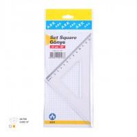 Триъгълник ARK 103 - 21 см. равнобедрен, пластмасов, прозрачен. 45º / 90º / 45º градуса