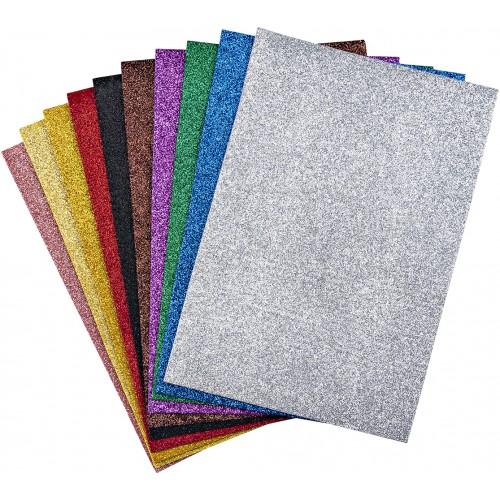 EVA пяна с брокат, 10 цвята, А4 - Акварел | Канцеларски материали за офиса и училището