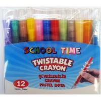 Пастели School Time 12цв. със завъртане