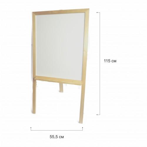 Бяла дървена дъска с рамка натурал