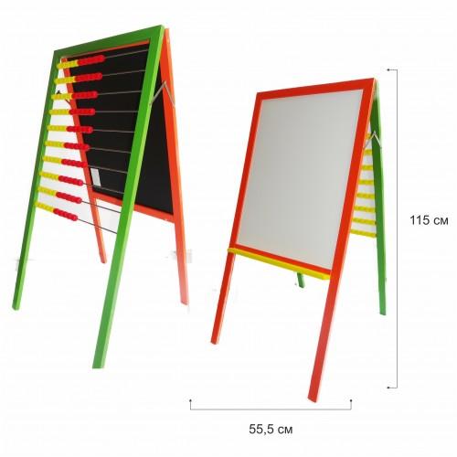 Бяла дървена дъска + сметало с цветна рамка - Акварел | Канцеларски материали за офиса и училището
