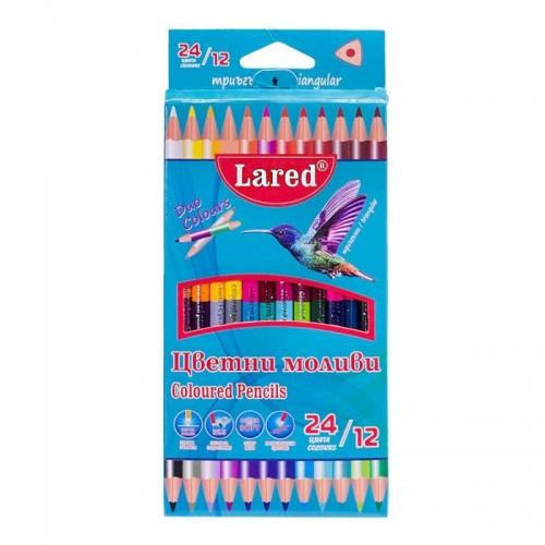 Цветни моливи Триъгълни ЛАРЕД ДУО 12/24 цвята - Акварел   Канцеларски материали за офиса и училището