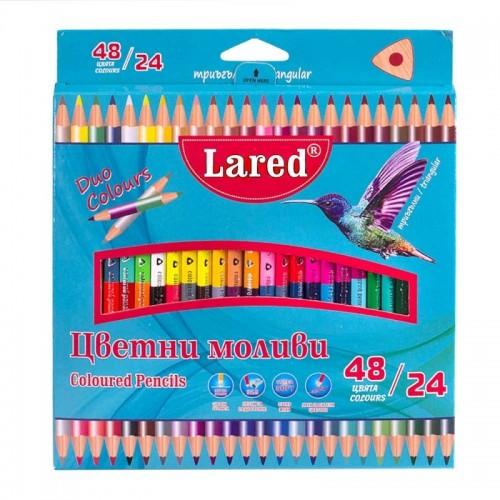 Цветни моливи Триъгълни ЛАРЕД ДУО 24/48 цвята - Акварел   Канцеларски материали за офиса и училището