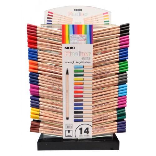 Дисплей с тънкописци NOKI Fineliner модел 6066, 14 цвята и дебелина 0.4 мм. / 540 бр. / - Канцеларски материали за офиса и училището | Акварел