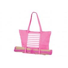 Плажна чанта PULSE DUBROVNIK LIGHT PINK X20938 - розова + рогозка