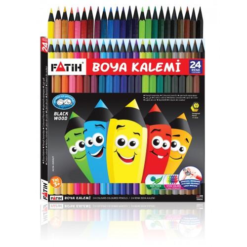 Цветни моливи Fatih 24 цвята черна дървесина - Канцеларски материали за офиса и училището | Акварел