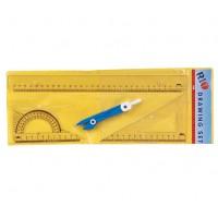Комплект за чертане RIO 407, 1 линия, 1 триъгълник, 1 транспортир, 1 пергел