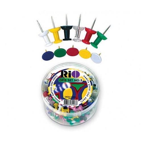 Офис комплект Rio 1403 кабъри и пинчета цветни - Канцеларски материали за офиса и училището | Акварел