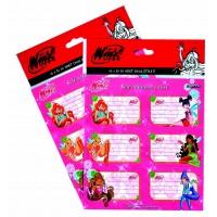 Ученически етикети WINX, цветни, самозалепващи, 30 етикета в опаквока
