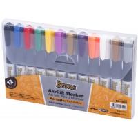 Акрилни маркери за рисуване комплект 12 цвята с кръгъл връх и дебелина на писеца 4мм