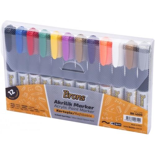 Акрилни Маркери за рисуване комплект 12 броя 12 цвята Перманентни - Акварел | Канцеларски материали за офиса и училището